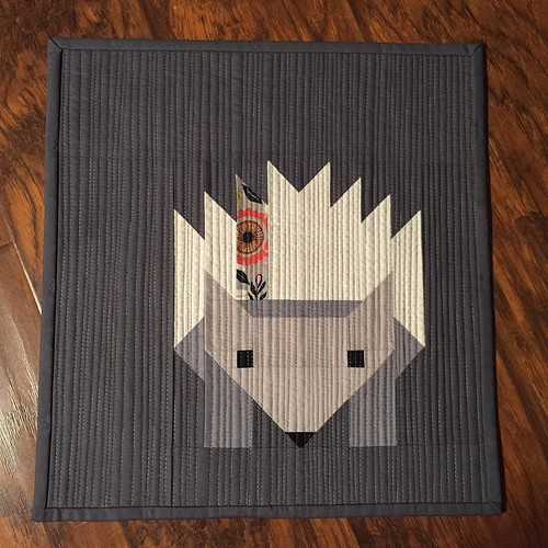 169:365 #hazelthehedgehog is all done. I love this grey variegated thread with matchstick quilting.