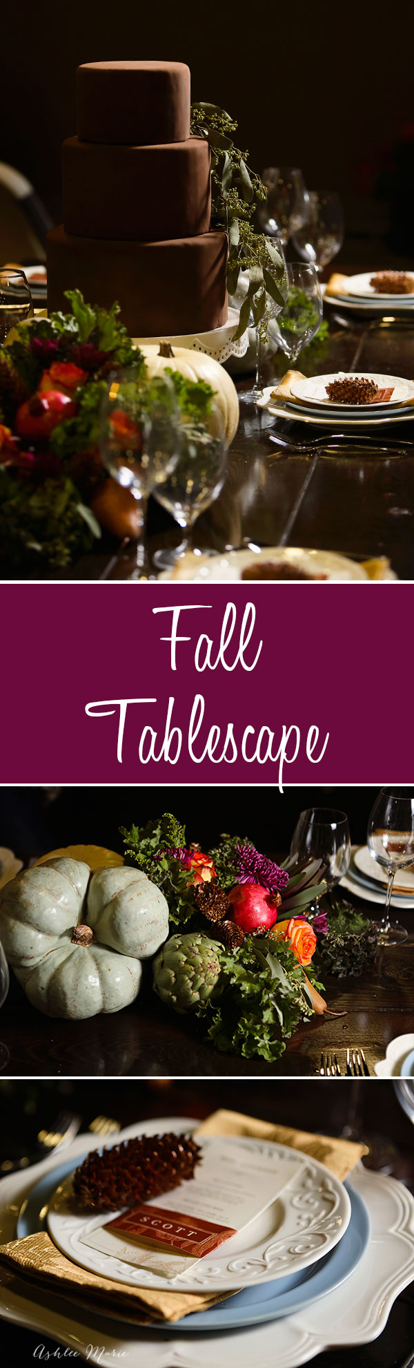creating your own fall tablescape with pumpkins and other edible veggies to create a beautiful centerpiece