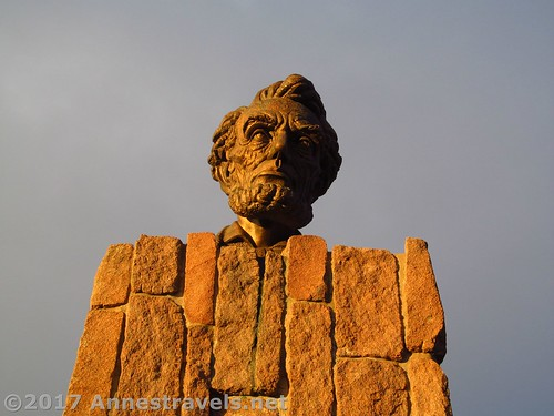 The bronze bust of Abraham Lincoln at the I-80 High Point / Summit Rest Area between Cheyenne and Laramie, Wyoming