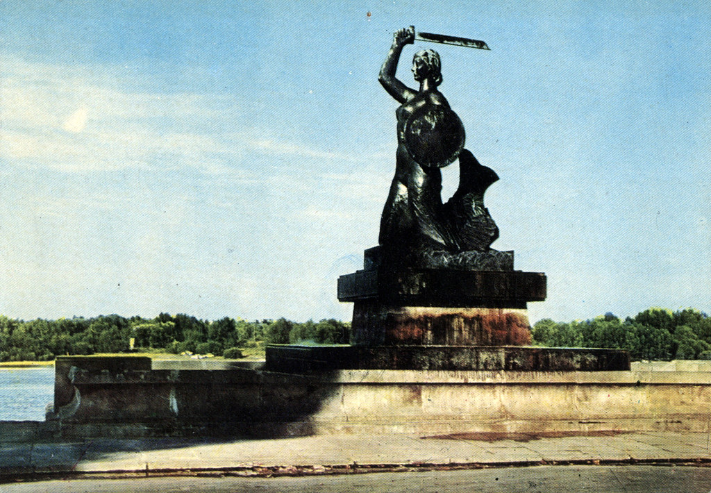 Statue de la sirène sur les berges de la Wisla à Varsovie sur une carte postale des années 60/70.