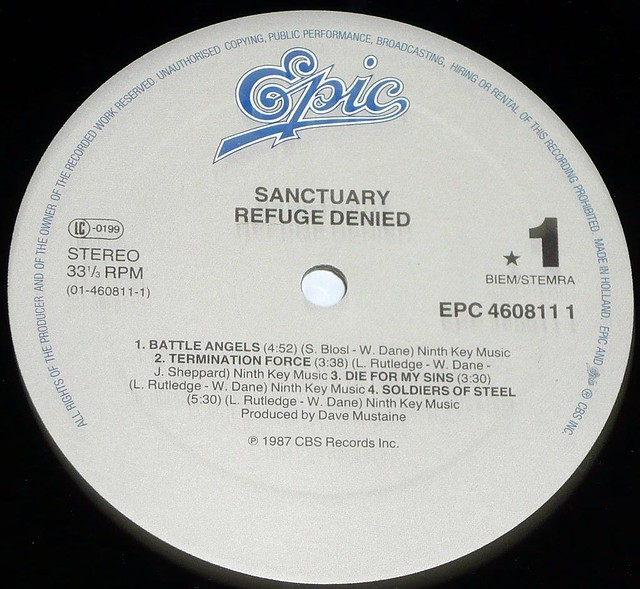 "SANCTUARY REFUGE DENIED DAVE MUSTAINE 12"" vinyl LP"