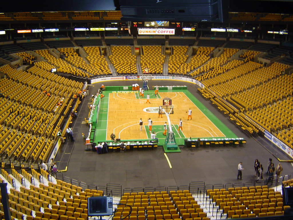 boston garden basketball court some kids were getting