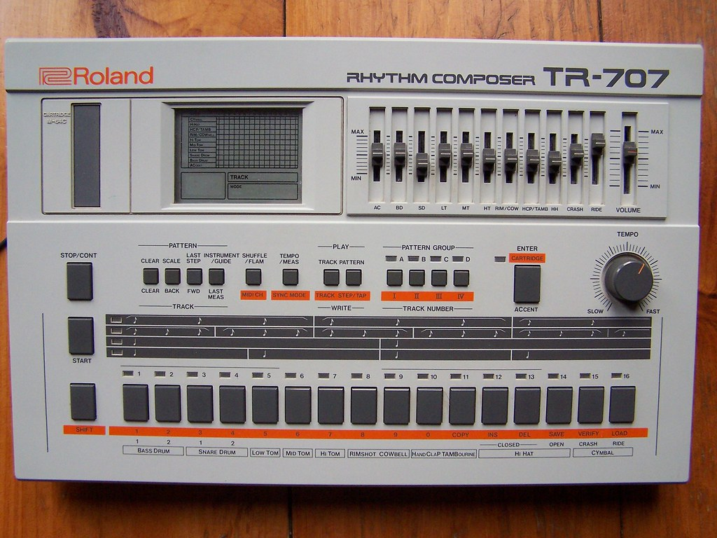 roland tr 707 drum machine one of my electronic puppies th flickr. Black Bedroom Furniture Sets. Home Design Ideas