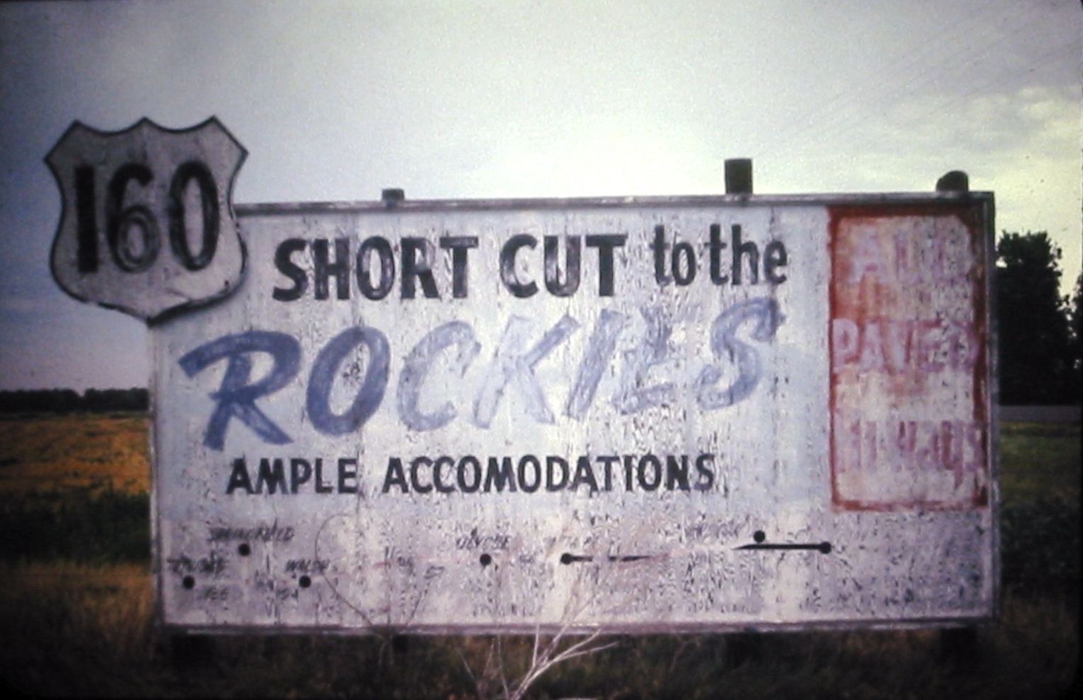 U.S. Route 160 promotional billboard - Bucklin, Kansas U.S.A. - 1974
