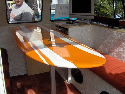Surfboard table its a table and a surfboard cool for Surfboard bar top ideas