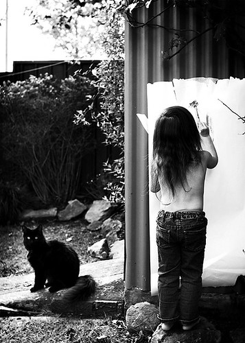 Girl paints and cat watches | by {amanda}