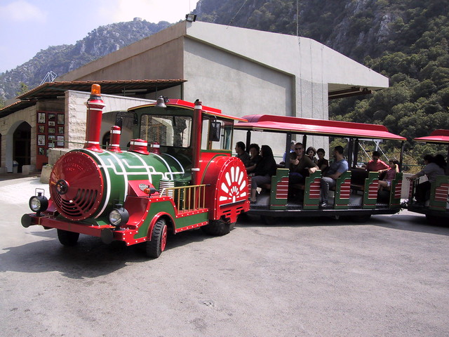 Train at Jeita Grotto, Limestone caves north of Beirut, Lebanon
