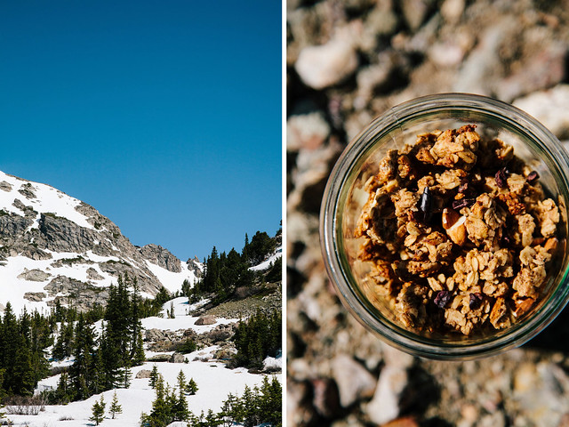 Clumpy banana + almond granola with cacao nibs