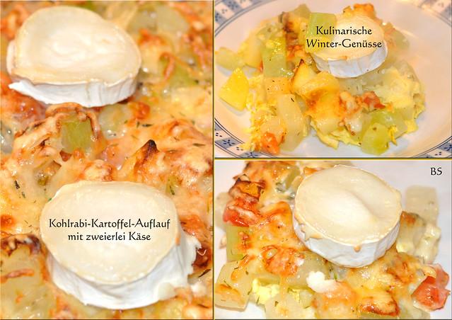 Gemüseauflauf Kohlräbchen Kohlrabi vegetarisch ... Auflauf mit Kartoffeln und zweierlei Käse überbacken - Fotos: Brigitte Stolle, Mannheim