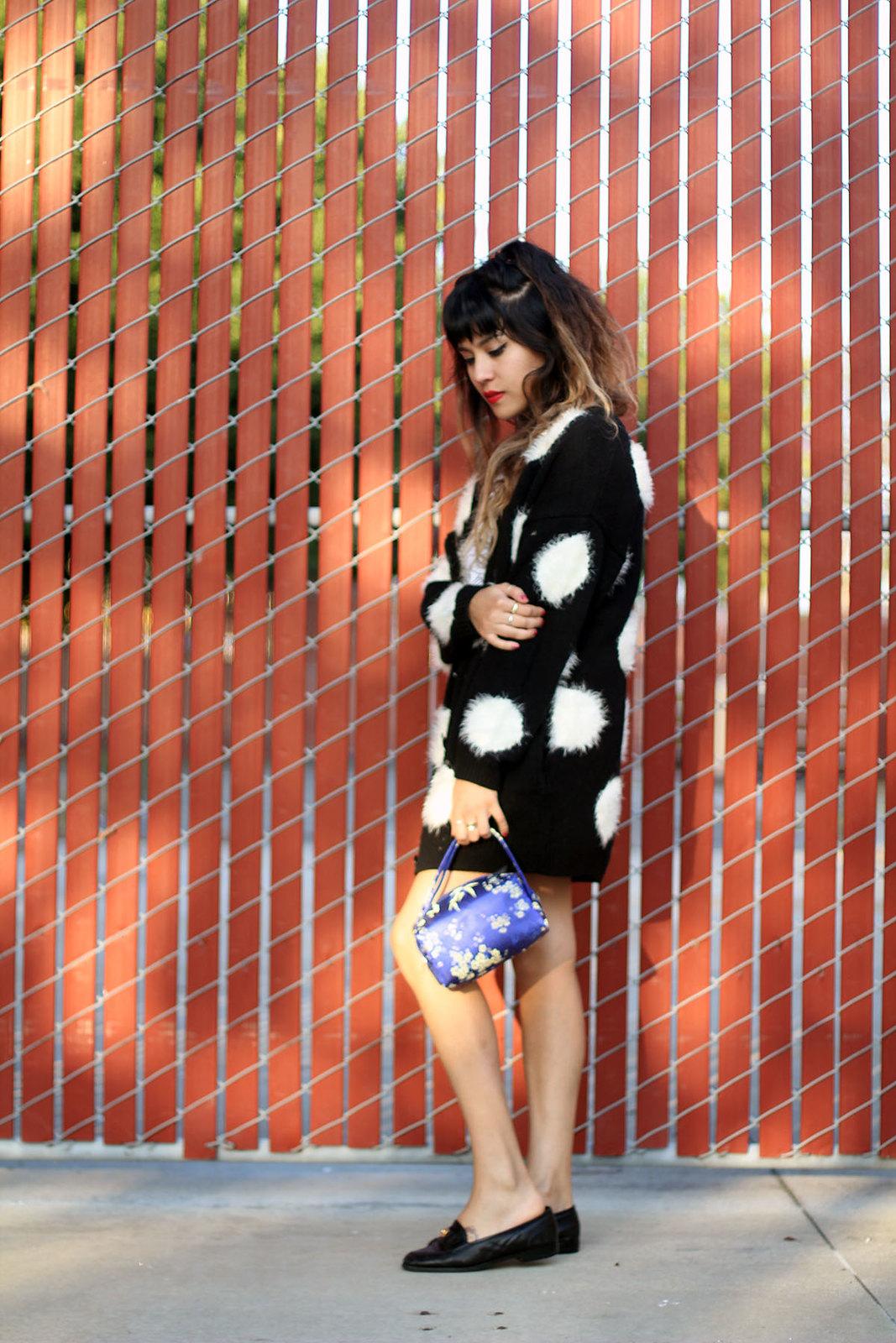 Dream but do not sleep shirt, Nasty Gal polka dot cardigan, Metallic skater skirt, Vintage Chanel loafers