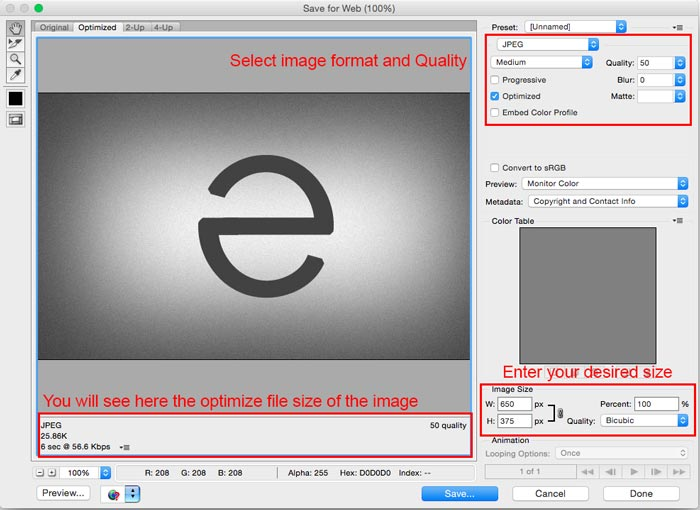 How to optimize image using photoshop