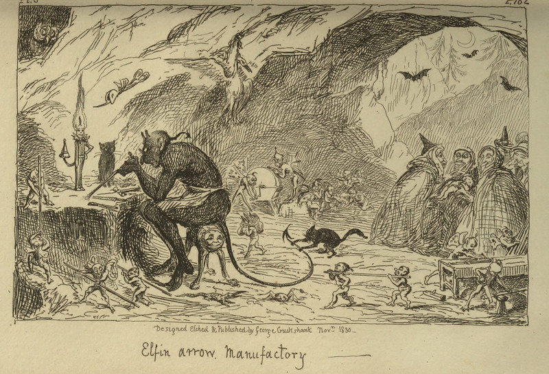 "George Cruikshank - ""Elfin arrow Manufactory"" Illustration from ""Letters On Demonology And Witchcraft"" by Walter Scott, 1830"