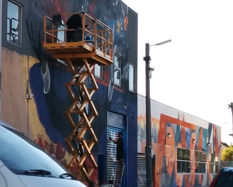 Franco Cozzo mural being painted, Footscray, May 2015
