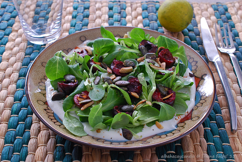 Nut lettuce yogurt salad with cherries