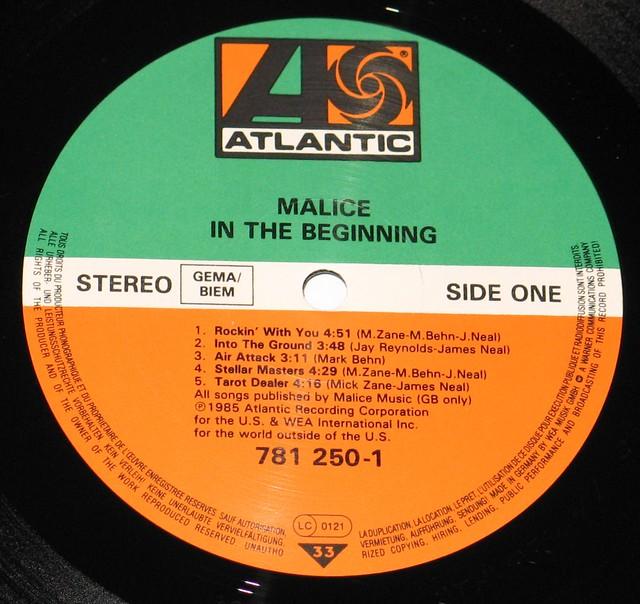 "Malice In the Beginning 12"" vinyl LP"