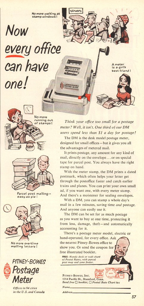 Postage Rate Chart: 1956 Pitney-Bowes Postage Meter Advertisement Time Magazinu2026 | Flickr,Chart