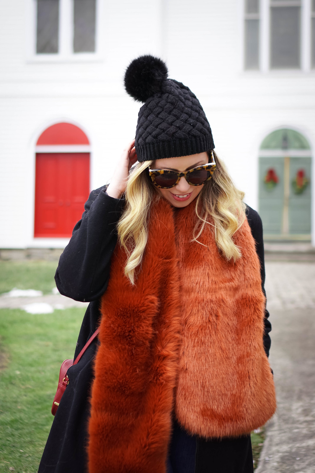Pom Pom Black Beanie | Burnt Orange Colored Faux Fur Scarf