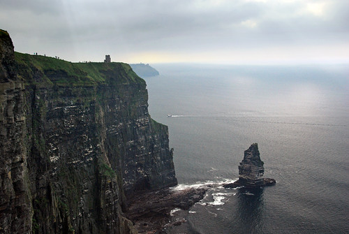The Branaunmore sea stack from above on the Cliffs of Moher on the west coast of Ireland