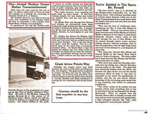 Lawrence J Casbon Hudson article 1920