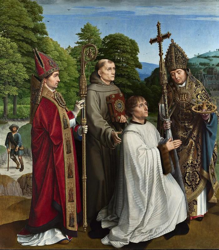 Gerard David - Canon Bernardijn Salviati and Three Saints