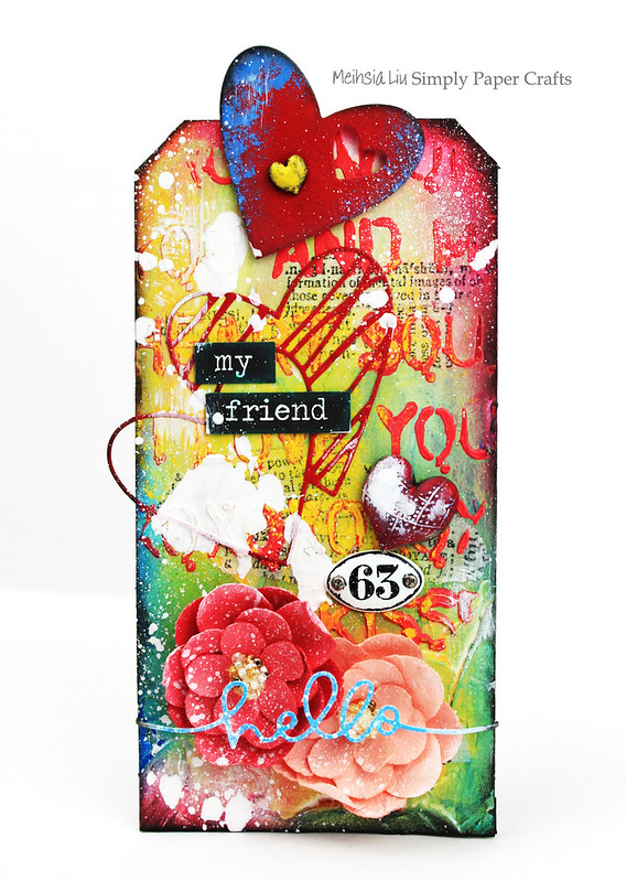 Meihsia Liu Simply Paper Crafts Mixed Media Tag Simon Says Stamp Monday Challenge Heart Love 1