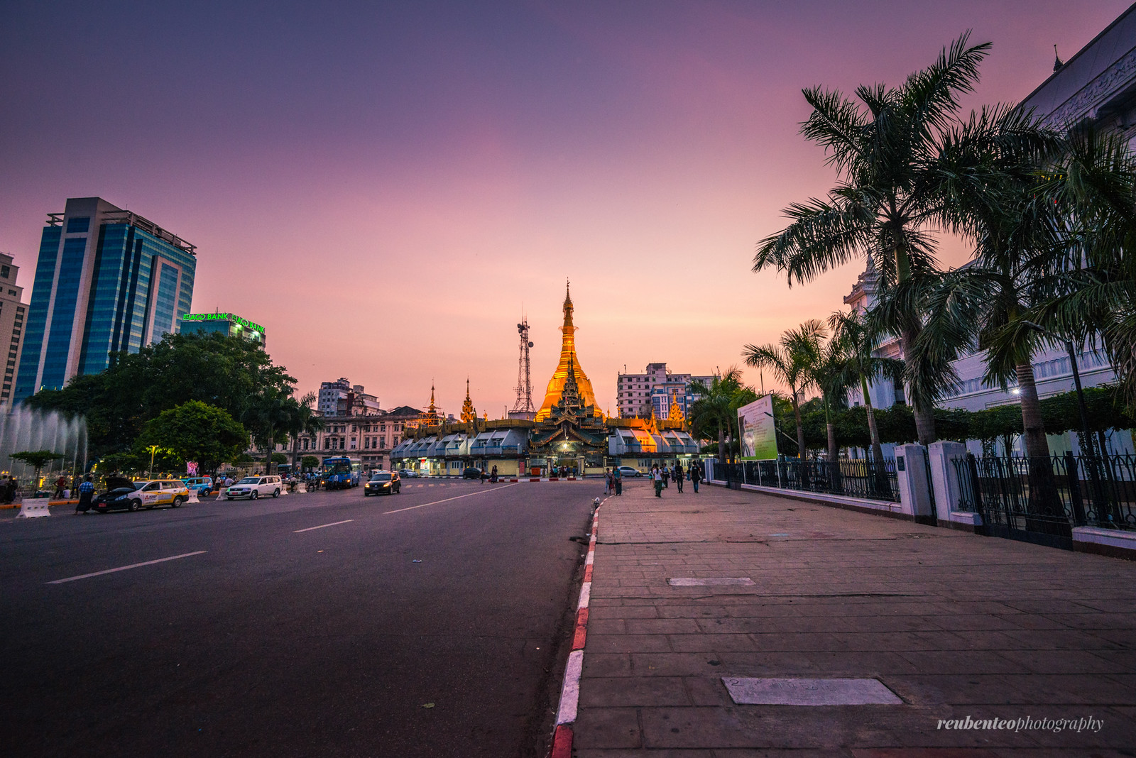 Sule Pagoda at Sunset