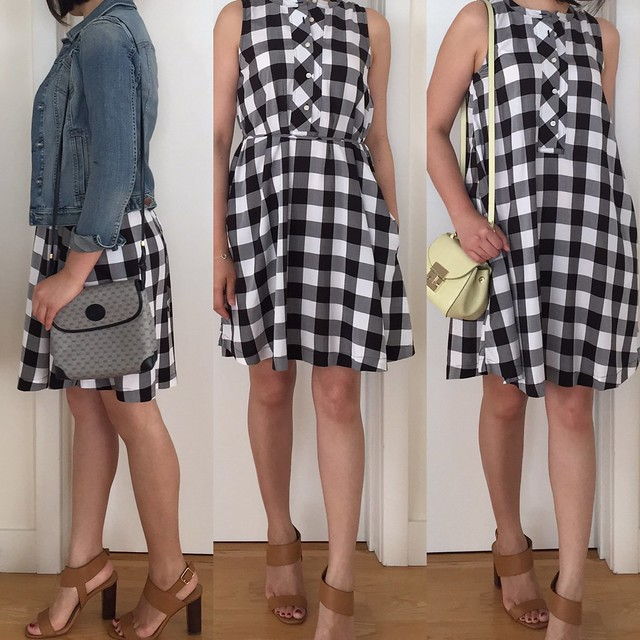 LOFT Gingham Gamine Dress, size XXS regular
