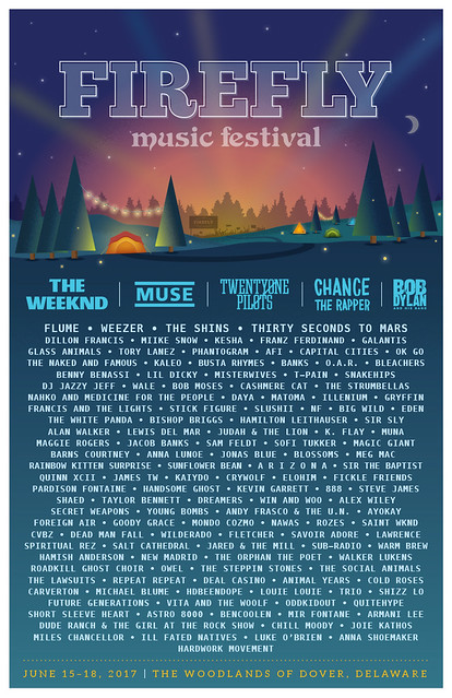 2017 Firefly Music Festival Lineup Poster