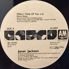 JANET JACKSON:WHEN I THINK OF YOU(LABEL SIDE-A)