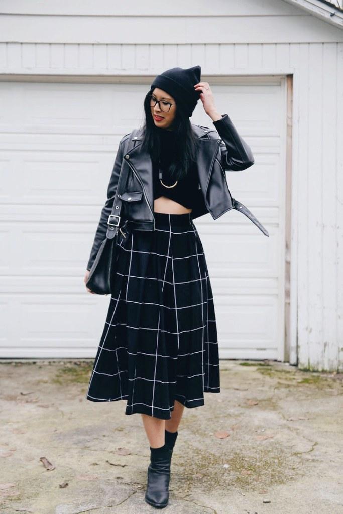 eShakti midi skirt moto jacket outfit