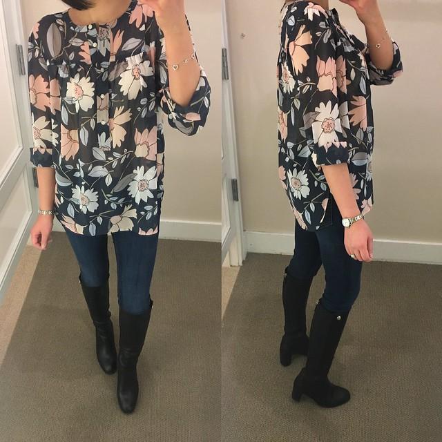 LOFT Bloom Shirred Henley Blouse, size XS regular