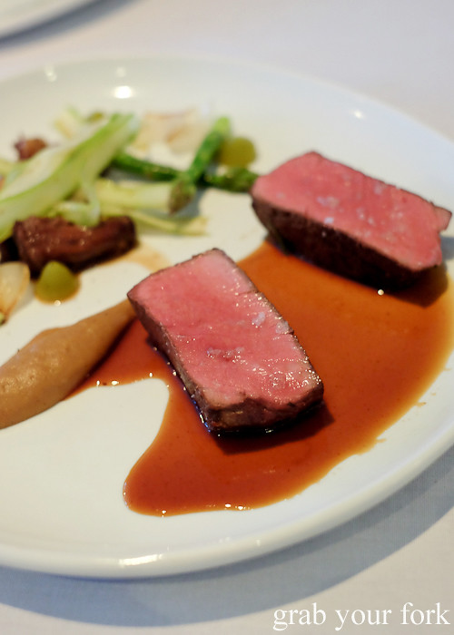 Roast beef tenderloin with braised oxtail at Bathers' Pavilion in Balmoral Sydney