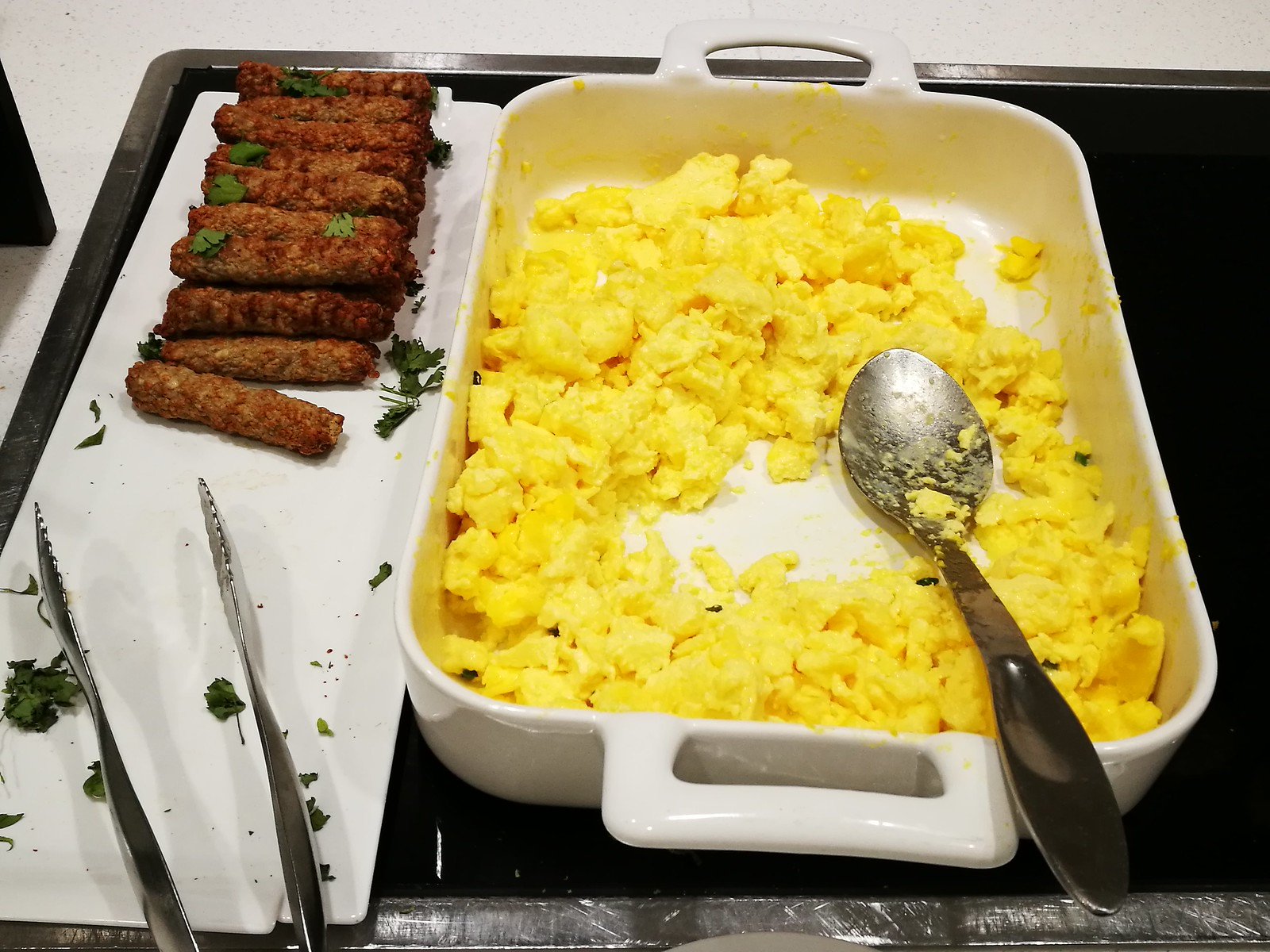 Scrambled egg and sausage