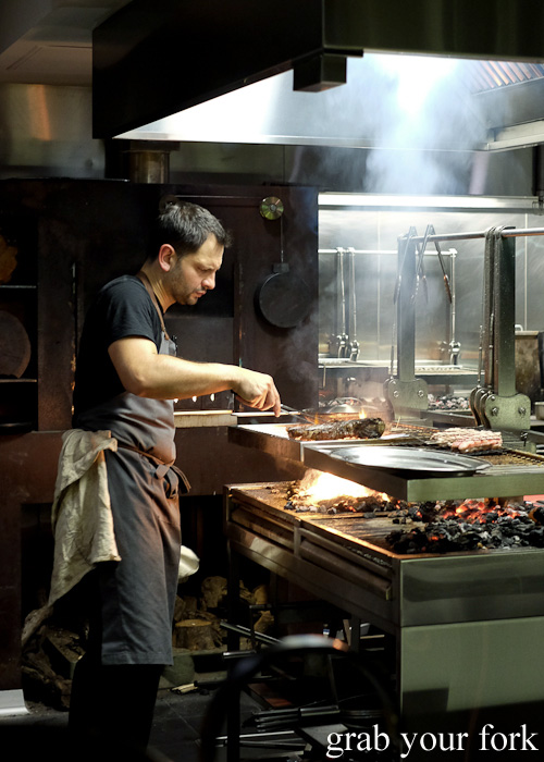 Chef Lennox Hastie on the woodfired grill at Firedoor, Surry Hills