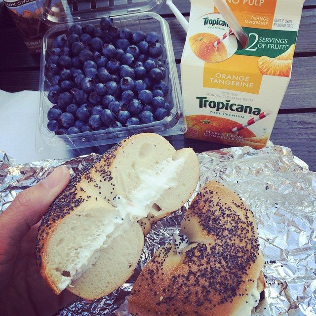 Frukost på hotellets takterass: varm bagel med krämig tofu veggie cream cheese! #vadveganeräter i New York.