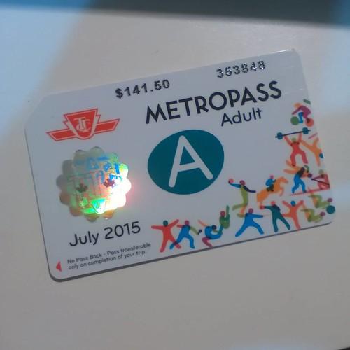 The July PanAm Metropass #toronto #panamgames #ttc #metropass #