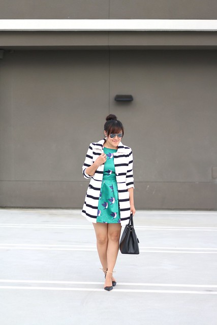 simplyxclassic, choies, black and white striped coat, striped coat, bird print dress, pattern mixing, mommy blogger, mom blog, fashion blogger, style blog, ootd,