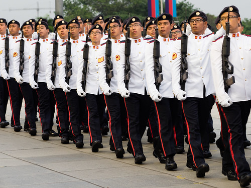 Soldiers marching past at SAF Day 2015 Parade