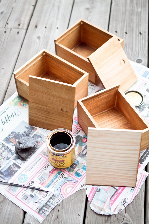wooden gift box: stain