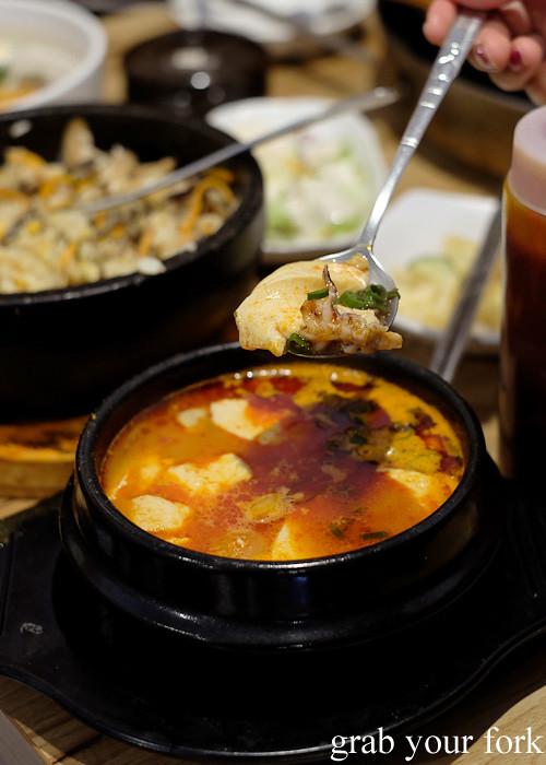 Sundubu jjigae spicy soft tofu stew at PR Korean Restaurant, Lidcombe