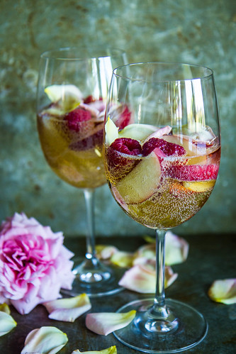 Nectarine Raspberry Rose Prosecco Punch | by Heather Christo