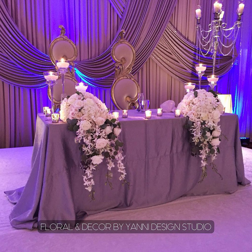 """Purple Wedding Sweetheart Table "" Check Out More Sweethea"