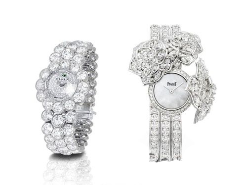 Left: LadyGraff diamond wristwatch right: Earl rose diamond watch