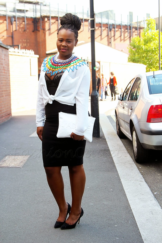 black-bodice-dress-with-a-white-top-&-heels, White chiffon shirt, white loose shirt, white oversized shirt, black lingerie inspired dress, white 'Jadore' clutch, multi coloured South African beaded necklace, beaded necklace, coloured beaded necklace, Sout