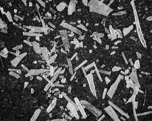 black and white shattered glass