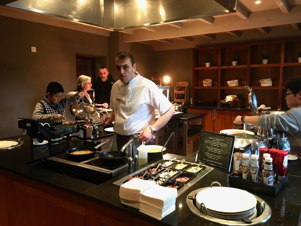 Breakfast at Worsley Park Marriott Hotel omelettes