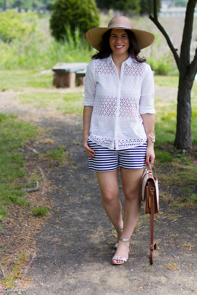 white eyelet shirt, striped shorts, starfish cuff, floppy hat-5.jpg