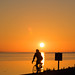 Riding the bike at sunset