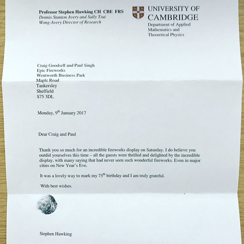 Thank You Letter From Professor Stephen Hawking