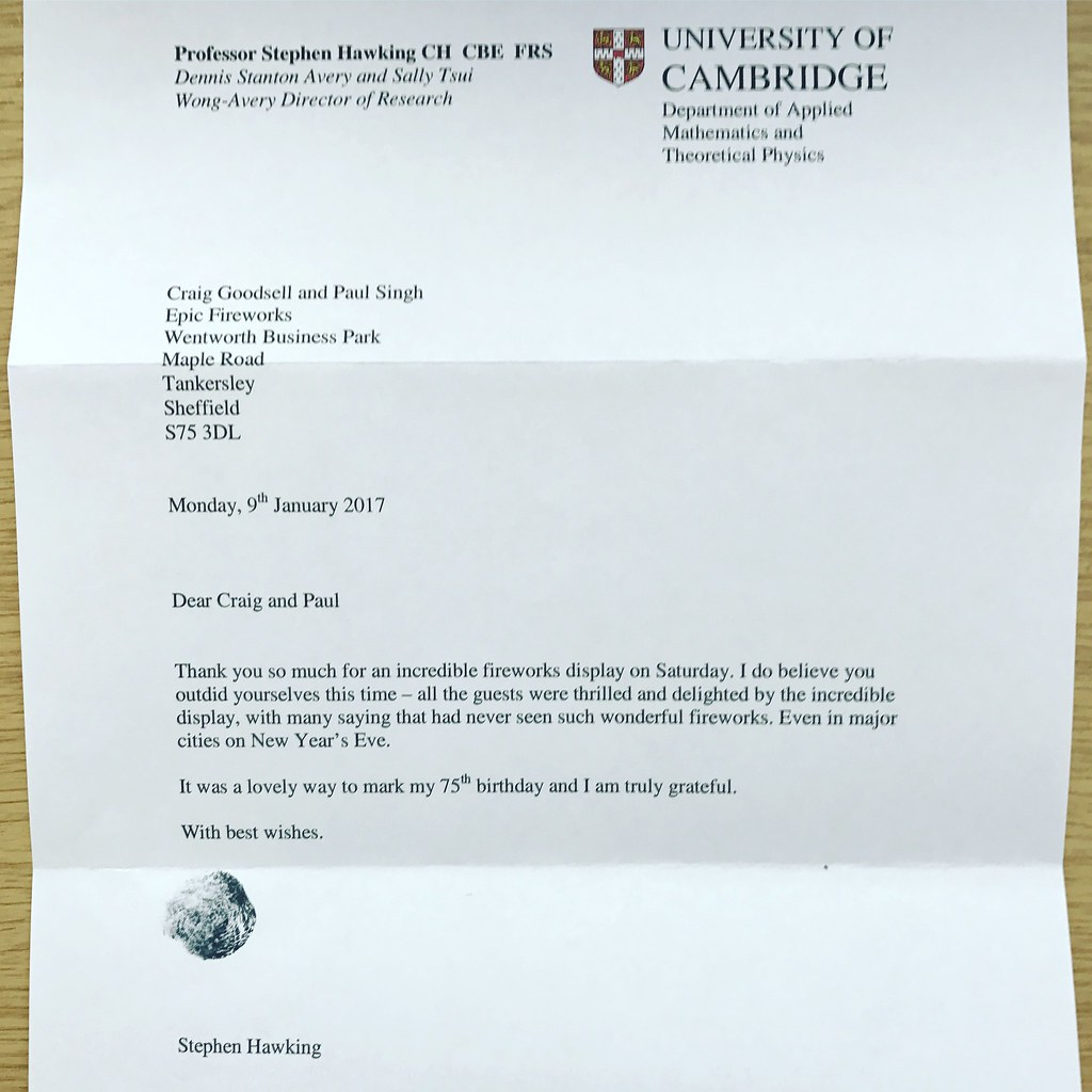 Thank You Letter From Professor Stephen Hawking | Epic Fireworks | Flickr